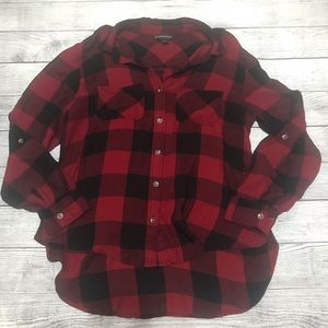 Rock & Republic Red and Black Plaid Flannel Shirt